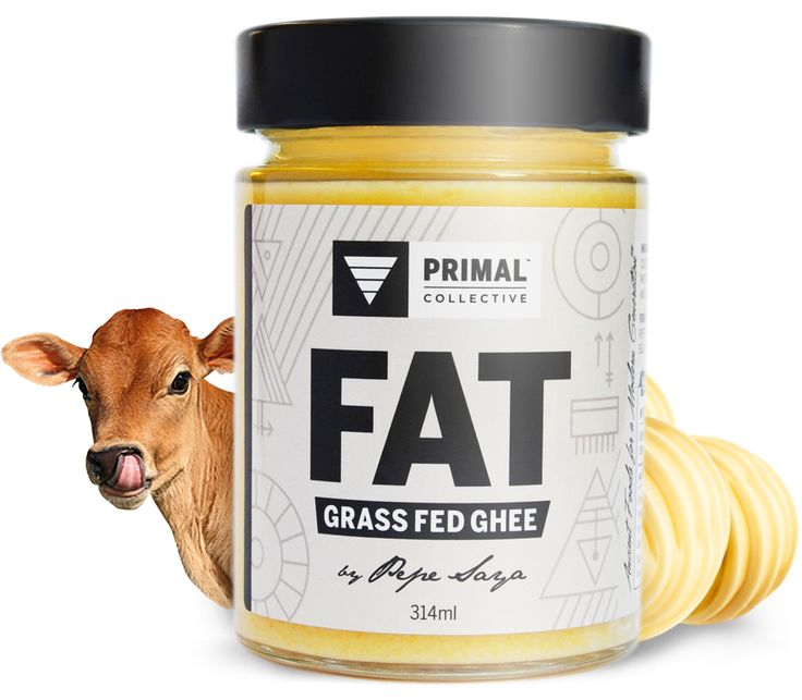 Primal Collective FAT (Grass Fed Ghee) Packaging Design by Atelier 1000 Words.