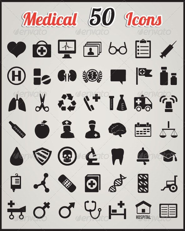 Set Of 50 Medical Icons For Design Icone Medicale Medical Dessin