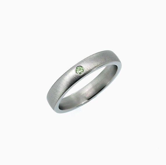 Classic Matte Wedding Band with Green Diamond, Titanium