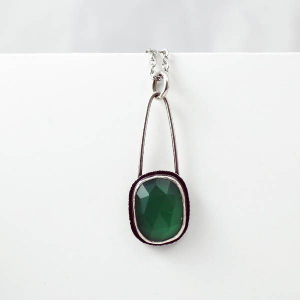 Green Onyx Necklace, gift for her, boho gift for mom, Holiday gift for her, sara westermark, etsymetal team, rose cut gemstone by sarawestermark on Etsy