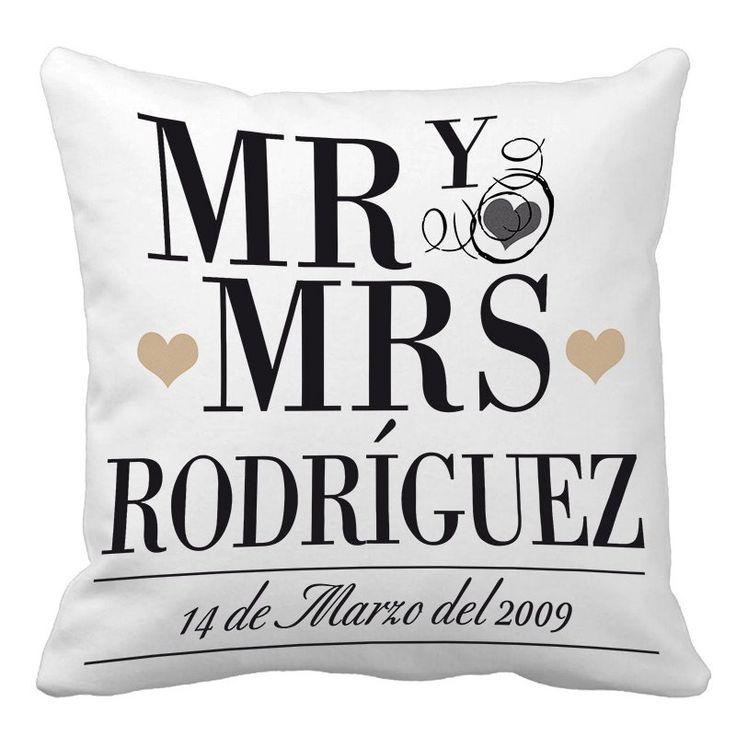 Regalos personalizados Diseño y decoración: Cojín personalizado Mr y Mrs