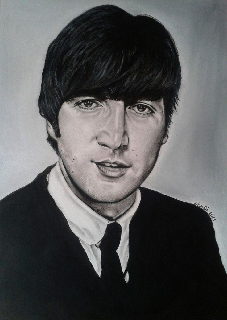 Mű címe: John Lennon portré.  Száraz ecset technikával készült olaj festmény Médium: pasztell papír Ország: Magyarország Művész: Árgyelán László