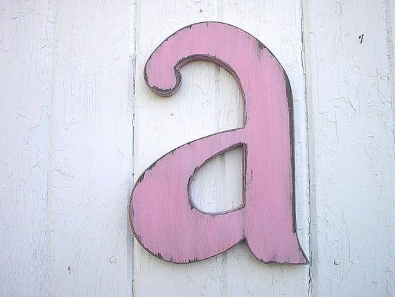 """Shabby chic Wall Letter """"a"""" Wooden Wall Letters Rustic Wall Letters Baby Room Kids Initial Wedding Bridal Shower on Etsy, $25.00"""