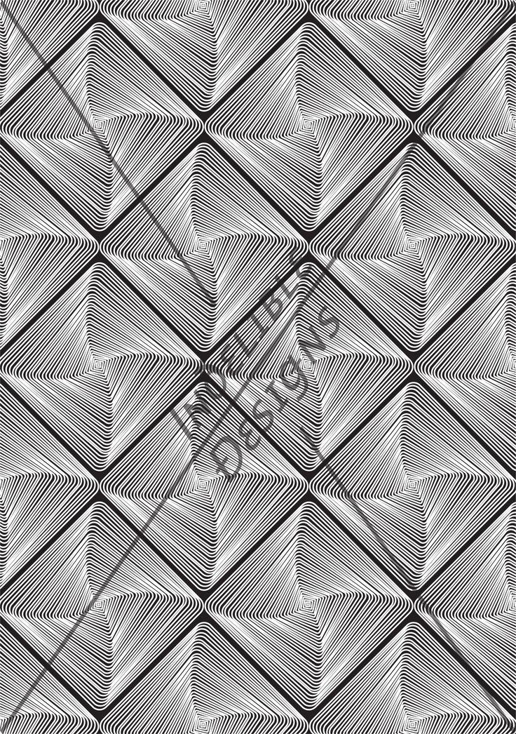 ID#04CE — Iɴðɛʟɪʙʟɛ Ðɛsɪǥɴs #screenprint #printdesign #textiledesign #textileprint #black #blackandwhite #monochrome #monochromatic #monotone #linear #shape #twist #layer #white #perspective #line