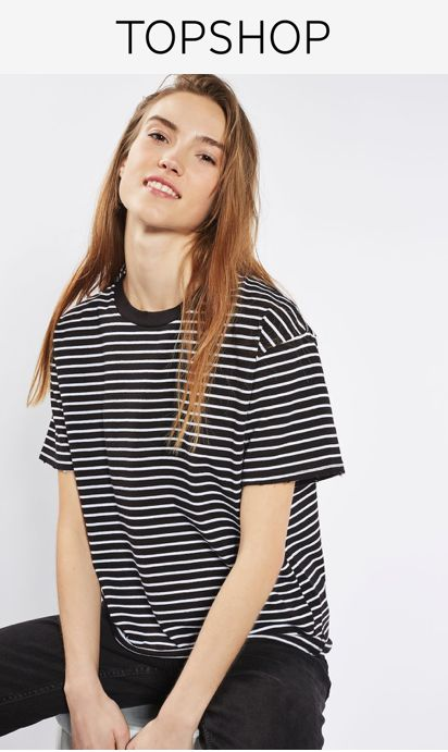 This basic striped tee with nibbling detail is a fashion essential for casual dressing. We love it with ripped jeans and white trainers for a tomboy chic look.