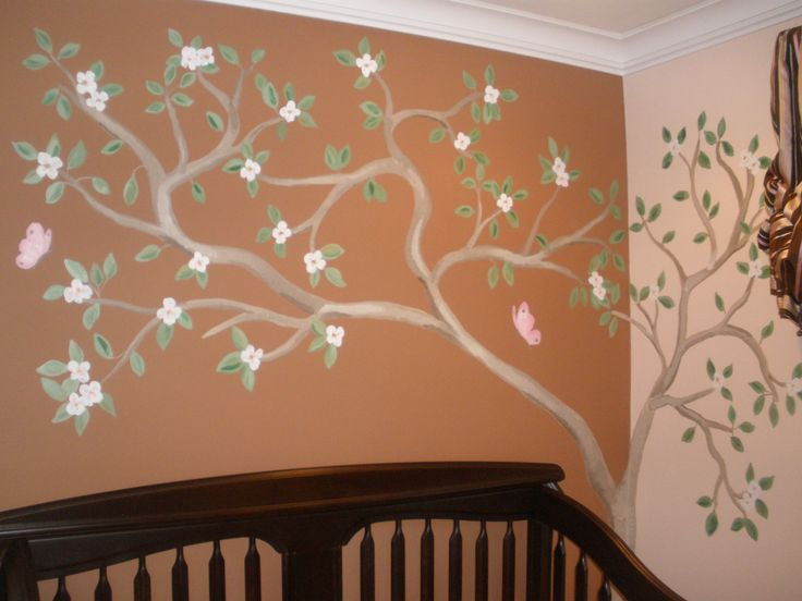 Tree murals cherry blossom tree nursery mural with for Cherry blossom tree mural