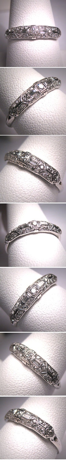 Wedding Ring Bands >> Antique Platinum Diamond Wedding Ring Band Vintage Deco | Diamond wedding rings, Wedding ring ...