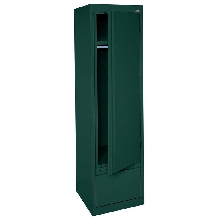 System Series 17 in. W x 64 in. H x 18 in. D Single Door Wardrobe Cabinet with File Drawer in Forest Green