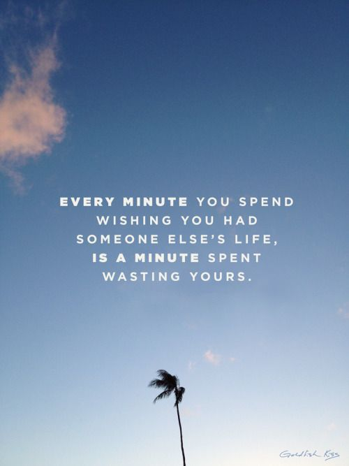 Every minute you spend wishing you had someone else's life is a minute spent wasting yours.