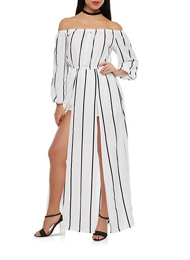 5f4261ec4f60 Striped Off the Shoulder Romper with Maxi Skirt Overlay