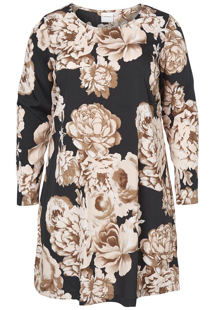 Cool Sort kjole med Smukke Lyserøde Roser Junarose Modetøj til Damer i dejlige materialer