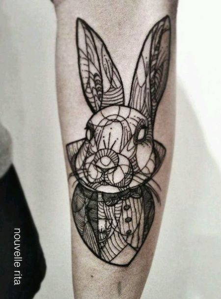 alice in wonderland white rabbit tattoo