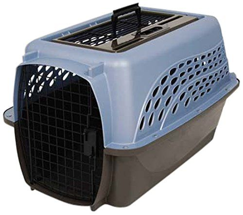 Petmate Two Door Top Load 24-Inch Pet Kennel, Metallic Pearl Ash Blue and Coffee Ground Bottom