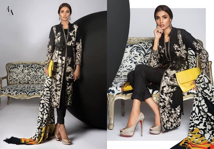 Sana Safinaz Winter Shawl Collection 2016-2017 With Prices: Black kameez with set embroidery in a beautiful cascading floral pattern in cream.