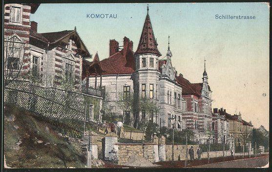 old postcard: AK Komotau / Chomutov, Blick in die Schillerstraße