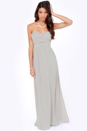 Exclusive Slow Dance Strapless Light Grey Maxi Dress