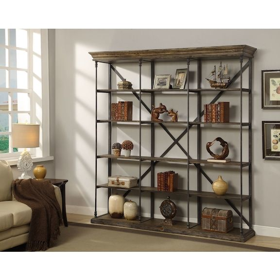Bedford Triple Bookcase Pine American Signature Furniture Large Bookcase Brown Bookcase Rustic Bookcase #rustic #shelves #for #living #room