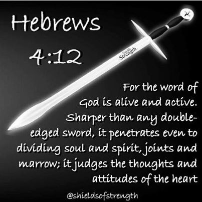 For the word of God is living and active. Sharper than any double-edged sword, it penetrates even to dividing soul and spirit, joints and marrow; it judges the thoughts and attitudes of the heart.    Hebrews  4:12