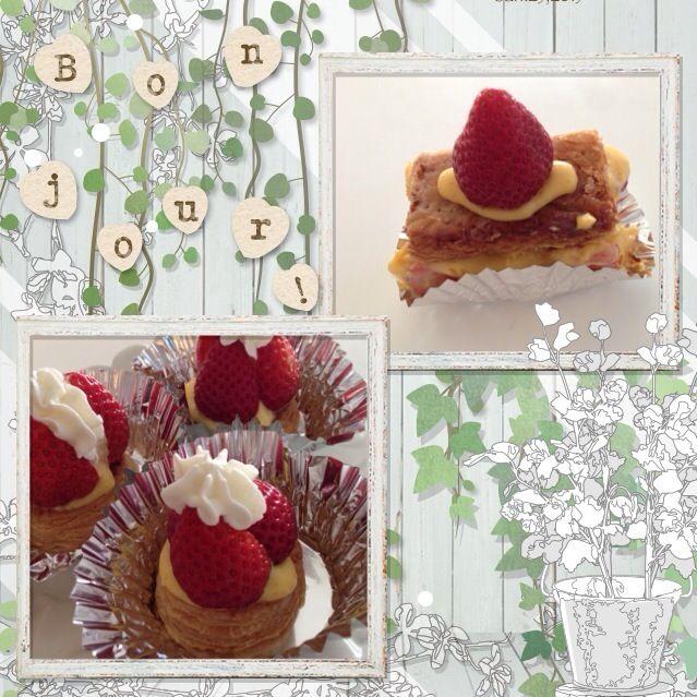 やっぱり手作りパイ生地は美味しい! - 12件のもぐもぐ - いちごミルフィーユ&いちごパイ by manatonmama