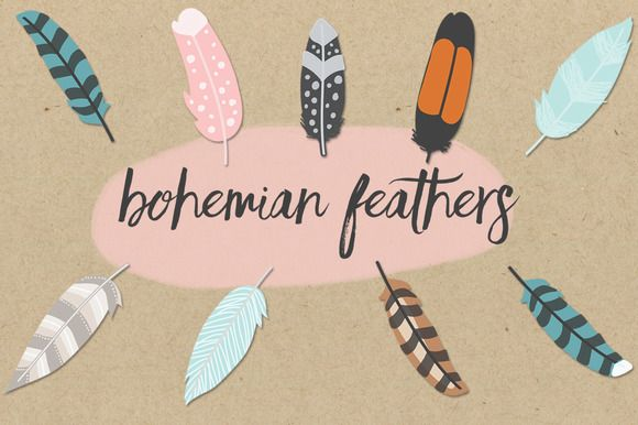 Bohemian Feathers Pack by Olivia Olsen on Creative Market
