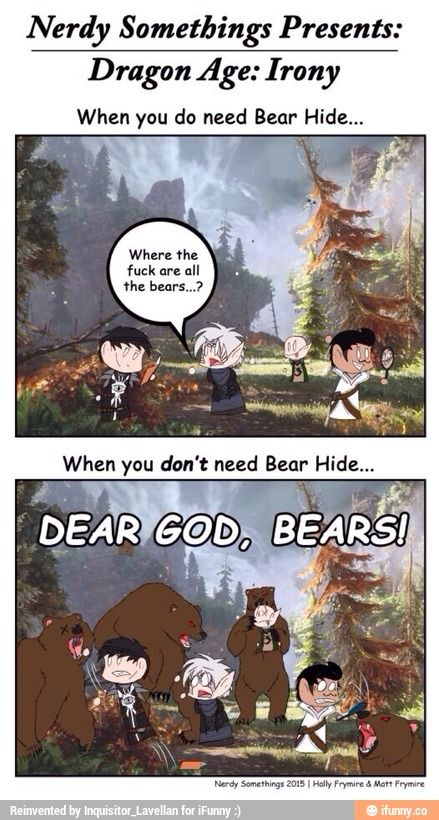 This is also true for the achievement: Trial of the Hermit! Hah Bear Hide: http://dragonage.wikia.com/wiki/Bear_Hide & Great Bear Hide: http://dragonage.wikia.com/wiki/Great_Bear_Hide