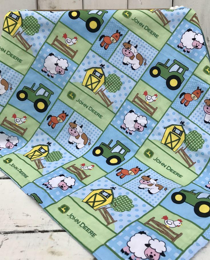 John Deere Baby Blanket, Tractor Baby Bedding, John Deere Baby Bedding, Farm Animals Nursery, John Deere Nursery, Yellow Minky Bedding by GagesNursery on Etsy