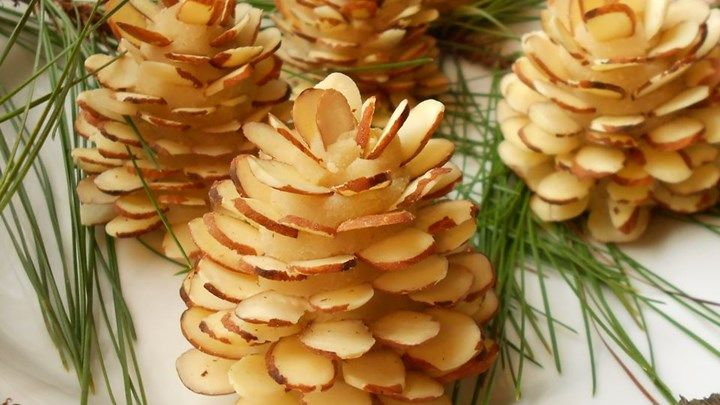 Our Test Kitchen suggests this clever way of dressing up any winter dessert. Make these 'pinecones' when you have some time, then use--and reuse--them on a variety of desserts...or even on a pretty plate piled with candies.