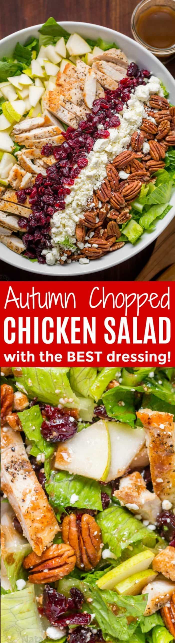 Autumn Chopped Chicken Salad will be your favorite Fall salad. Chicken Salad with pears, craisins, pecans, feta and chicken with easy balsamic vinaigrette!