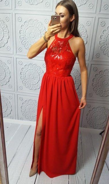 Długa wieczorowa suknia Olivia w kolorze czerwonym. Idealna na studniówkę!