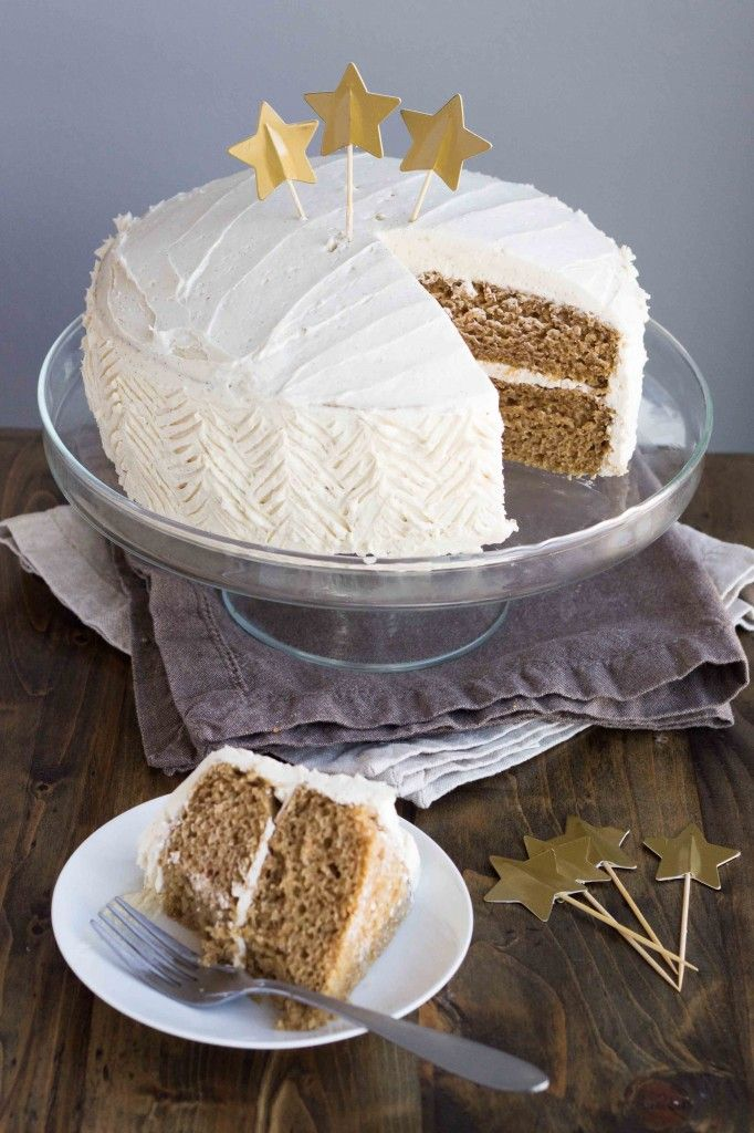 A fluffy vegan cake infused with the spices of Chai tea, and topped with a decadent vanilla bean buttercream.