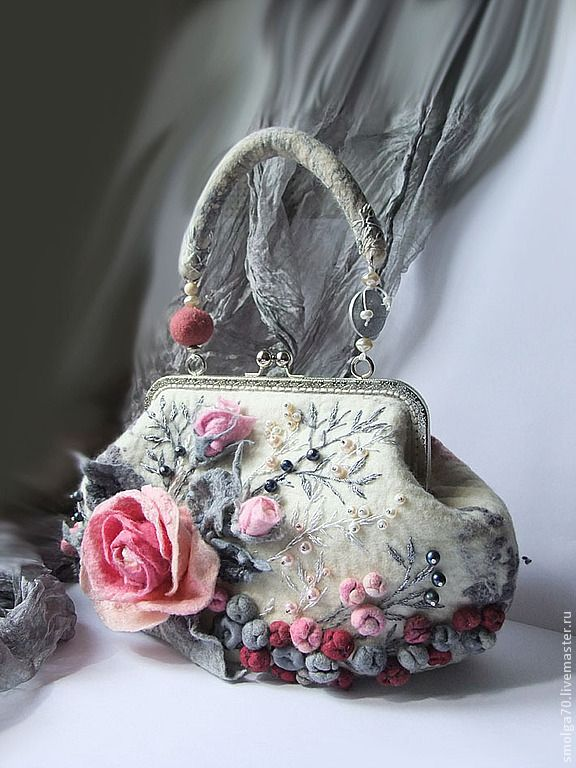 """арт-сумочка """"Tenerezza"""" (ремейк) - розовый,арт-сумка,розы,букет роз,розовый и серый"""