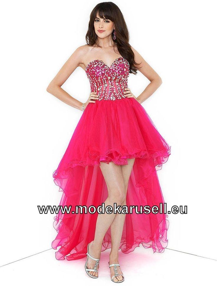Sexy Vokuhila Abendkleid Pink Vorne Kurz Hinten Lang