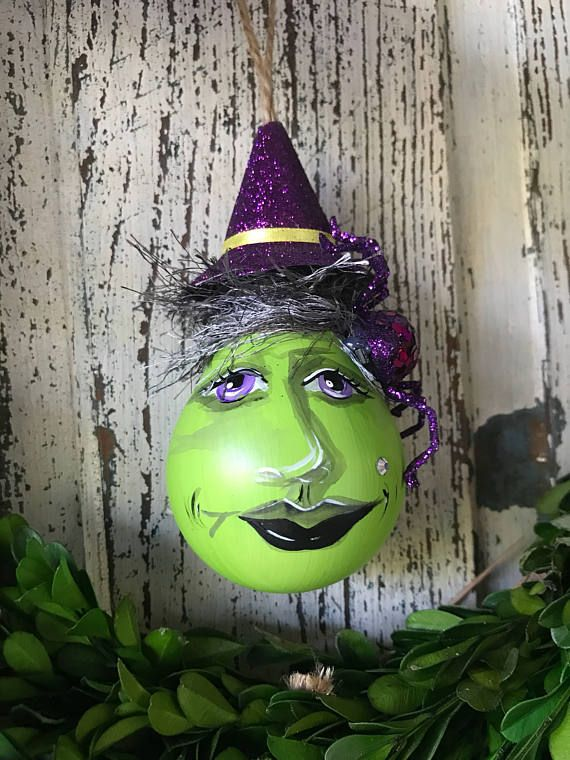 Hand Painted Recycled Lightbulb Ornament - Witchy Woman Each ornament is hand painted making them truly one of a kind