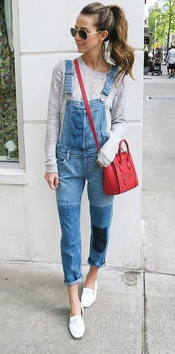 Fashion bloggers pull out their favorite overalls during spring. But you can easily wear them year-round. Bold accessories really elevate the look.: