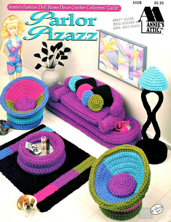 Parlor Pizazz Fashion Doll Crochet Living Room Furniture Couch Throw Pillow Floor Lamp Coffee Table Craft Pattern Leaflet Annie's Attic 540B