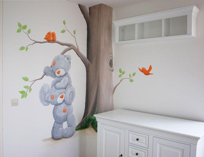 me to you beertjes met een boom en vogels  Bears and birds mural nursery. 124 best Muurschilderingen images on Pinterest