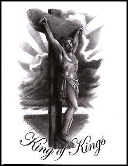 """King of Kings Temporaray Tattoo by Tattoo Fun. $3.95. This is a black and white Temporary tattoo of Jesus on the cross with the name """"King of Kings"""" written under him. It measures approx 3 1/4"""" long x 2"""" wide."""