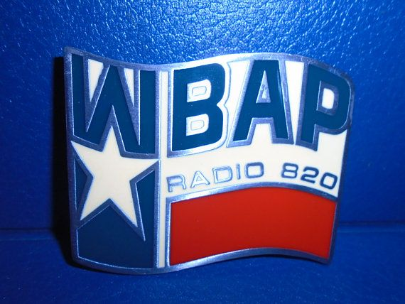 Vintage Western Belt Buckle.  WBAP Radio Station Belt Buckle.