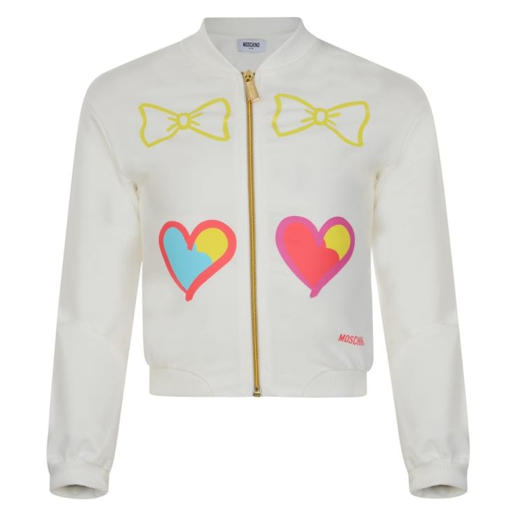Moschino Girls Off White Sweatshirt with Bow and Heart Print and Gold Zip Detailing