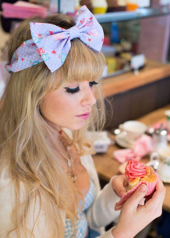 Bow Headband Dolly Bow Cupcake Bow Headband Rockabilly by beauxoxo, £12.00