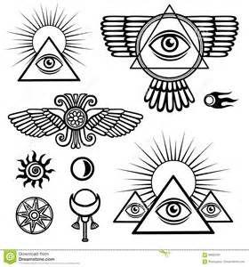 Vektor Abbildung: Satz geheime Symbole: Flügel, Pyramide, Auge, Mond ...