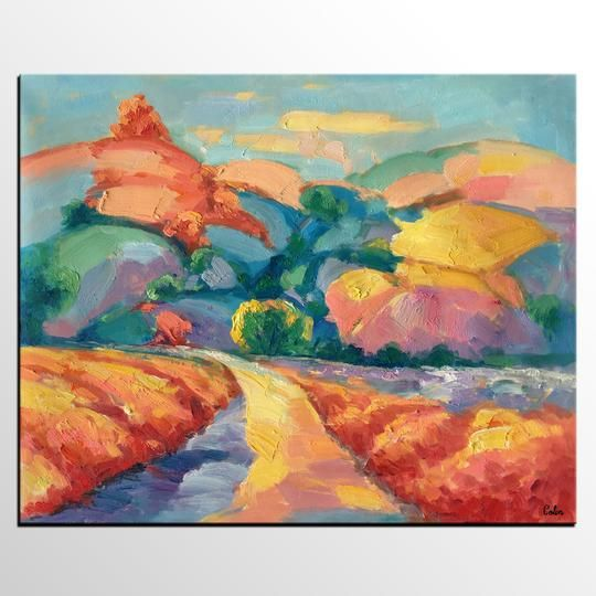Mountain Landscape Painting Abstract Impasto Art Canvas Wall Art For Sale Heavy Texture Oil Painting Oil Painting Texture Hand Painting Art Painting