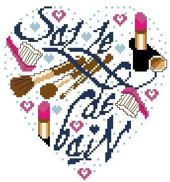 0 point de croix coeur maquillage - cross stitch make-up heart