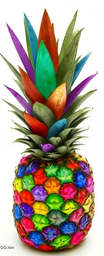 Colorful Pineapple ~ discountattractions.com simple to do with a young grandchild... on a snowy day