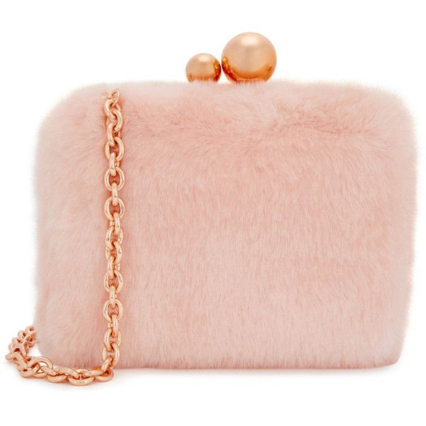 Sophia Webster Vivi Bella Pink Faux Fur Box Bag ($575) ❤ liked on Polyvore featuring bags, handbags, shoulder bags, chain shoulder bag, chain-strap handbags, embellished purse, chain strap shoulder bag and embellished handbags