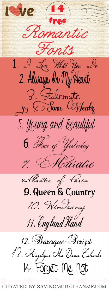 14 Free Romantic Fonts + I Love You More Than Chocolate Printable » Saving More Than Me