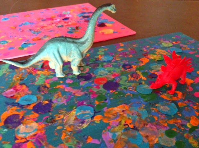 Puppy Love Preschool: Preschool Collaborative Impressionism Art: Painting With Dinosaurs