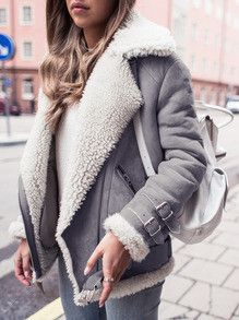 Grey Coat with Fur Lapel Trendy Winter Jacket