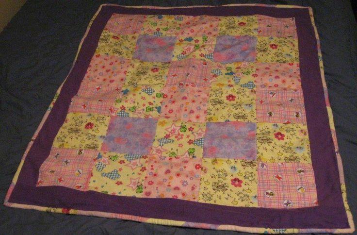 Girls Quilt, Pink, Purple, Yellow. Princess, Flowers and Butterflies