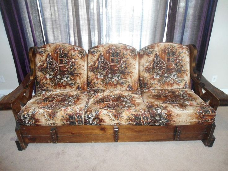 Vintage late s real wood frame couch cushion printed